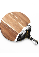 Round Acacia Resin Cheeseboard | Black/White/Gold