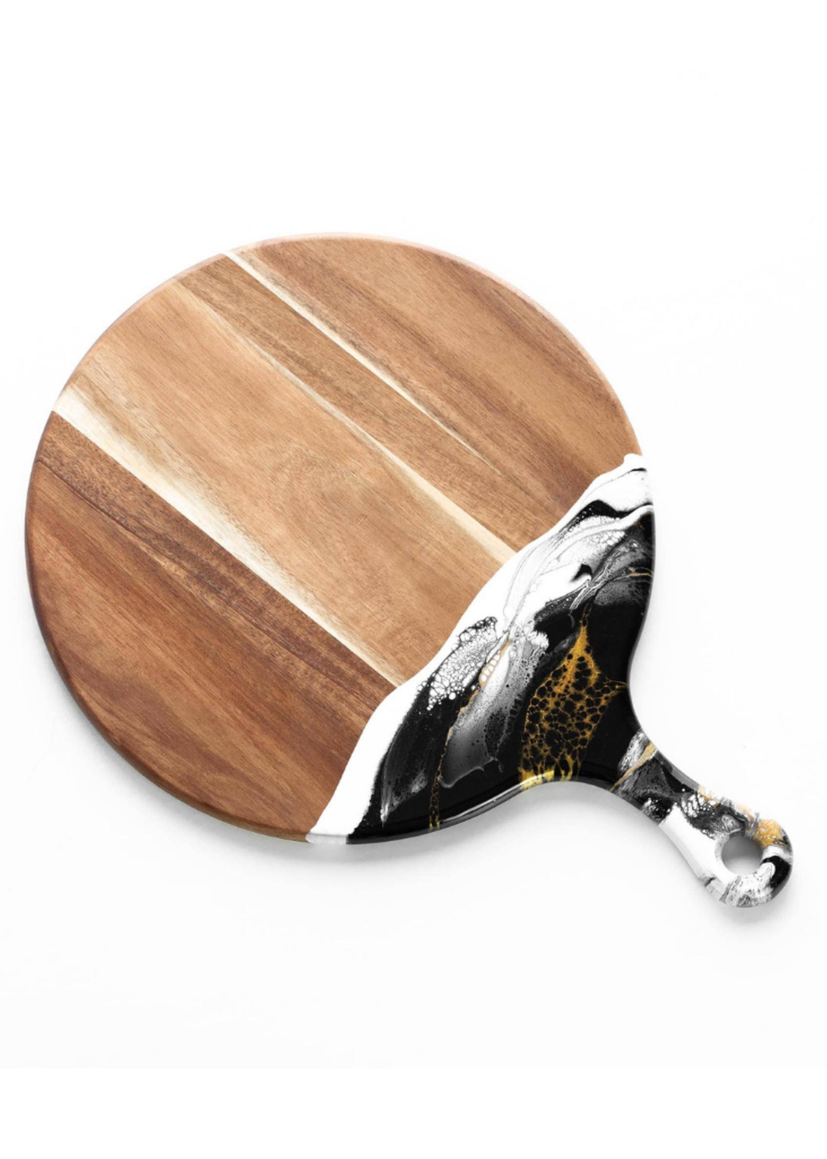 Round Acacia Resin Cheeseboard // Black/White/Gold