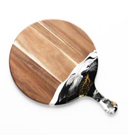 Round Acacia Resin Cheeseboard | Black/White/Gold