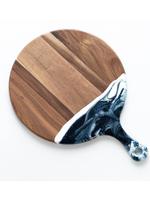 Round Acacia Resin Cheeseboard // Navy/White/Metallic