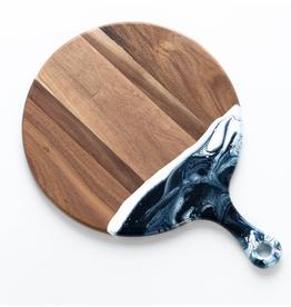 Round Acacia Resin Cheeseboard | Navy/White/Metallic