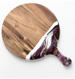 Round Acacia Resin Cheeseboards | Raspberry/White/Gold