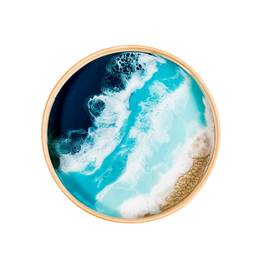 Round Bamboo Resin Serving Tray | Ocean Vibes