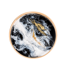Round Bamboo Resin Serving Tray | Black/ White/ Gold