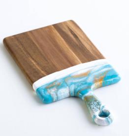 Small Acacia Resin Cheeseboard | Teal / White/ Gold