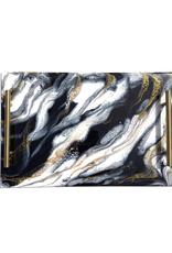 Resin Serving Trays w Handles | Black/ White/ Gold #1218LRT-BWG
