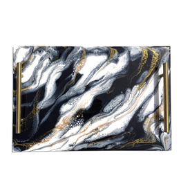Resin Serving Tray with Handles | Black/ White/ Gold