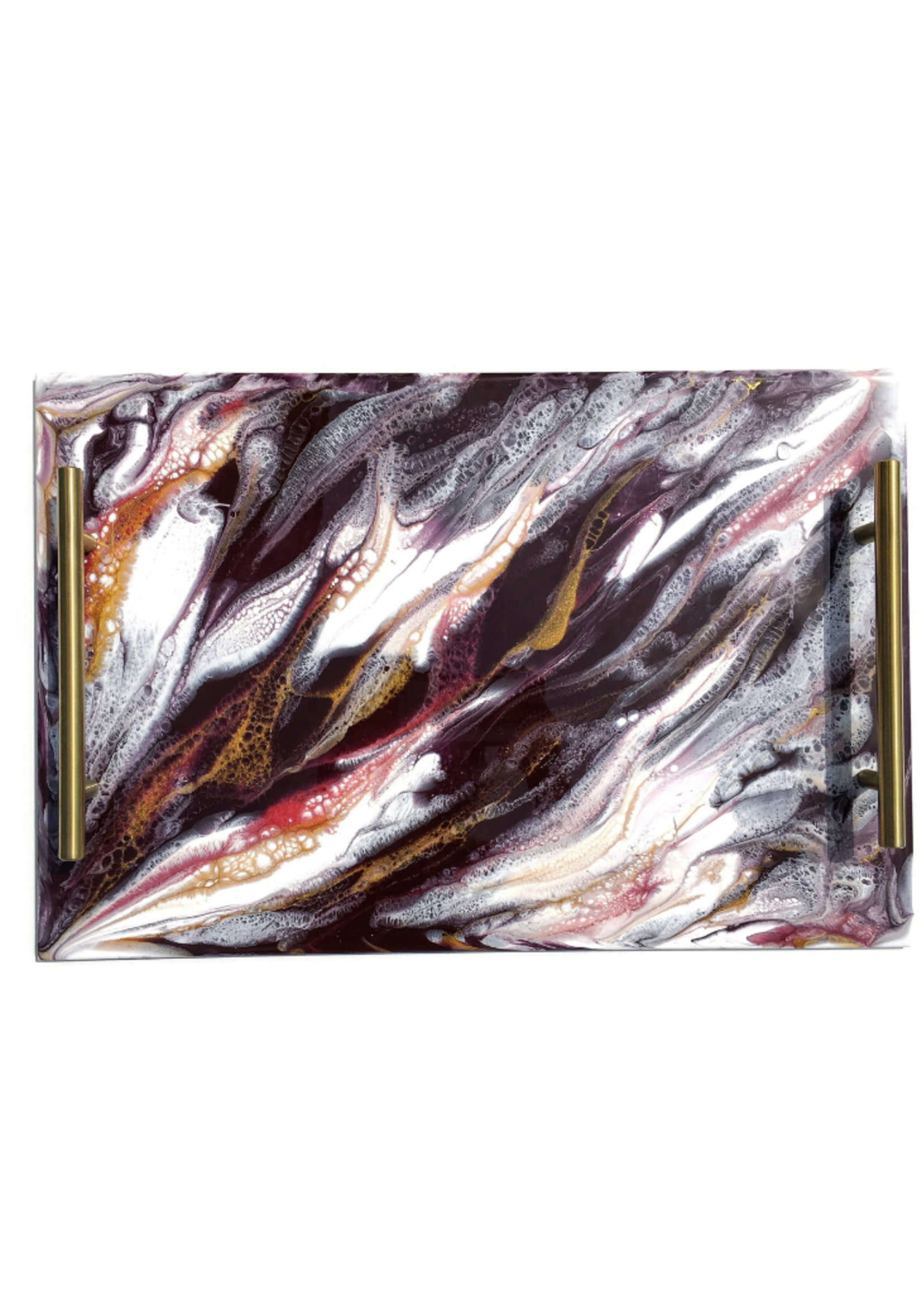 Resin Serving Tray with Handles | Raspberry/ White/ Gold
