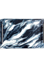 Resin Serving Tray with Handles | Navy/ White/Metallic