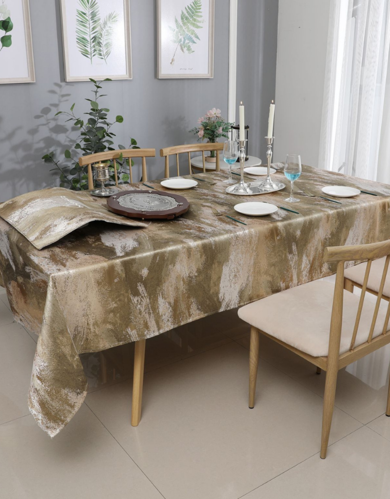 Jacquard Tablecloth Abstract Gold/Beige #1201