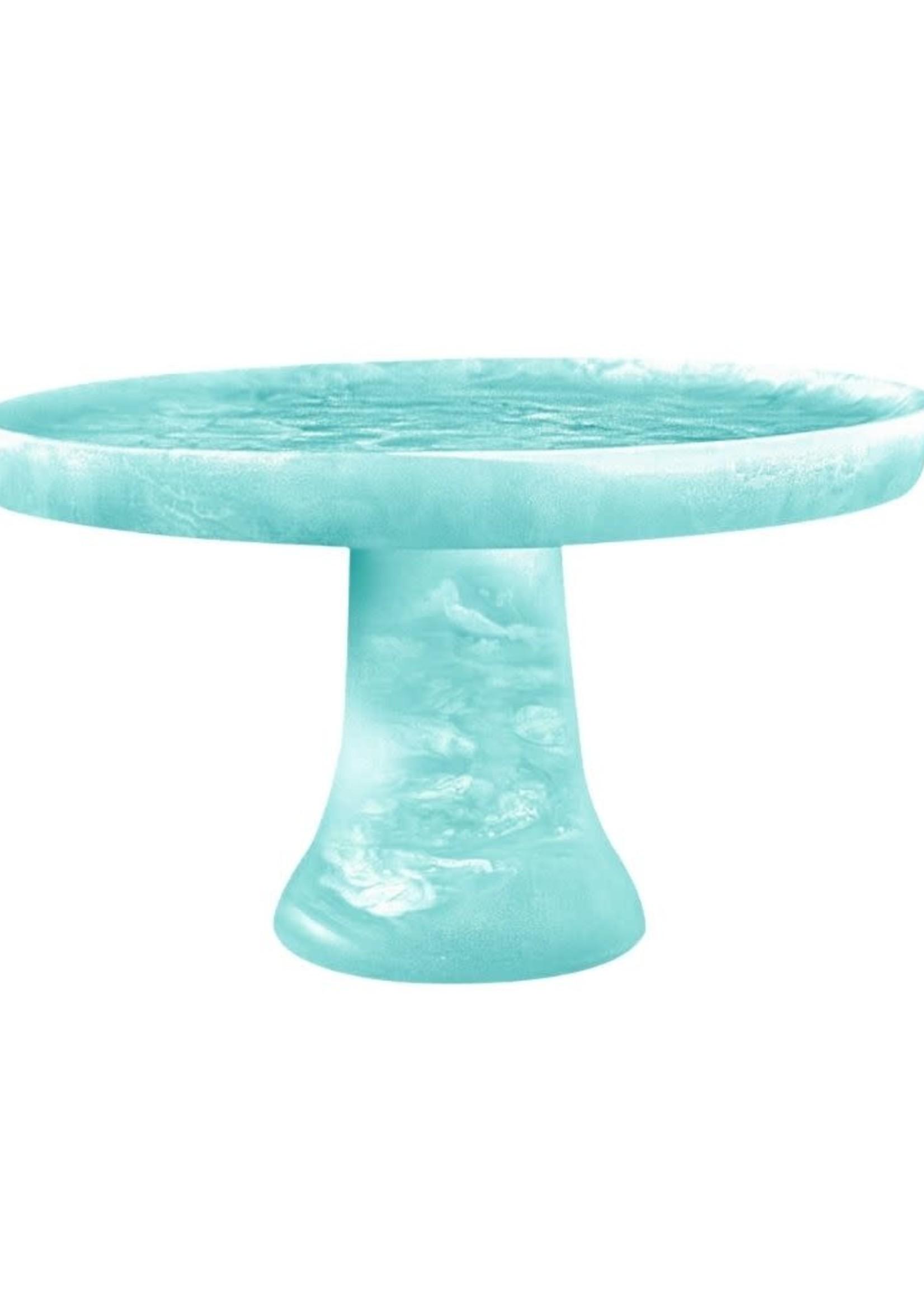 Footed Cake Stand // Aqua Swirl