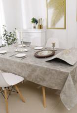 Jacquard Tablecloth Metallic Swirl Grey/Brown/Gold #1210