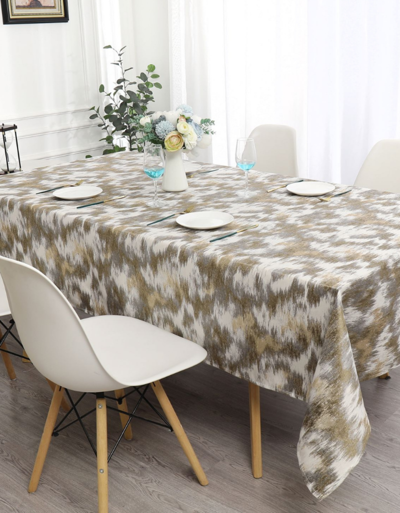 Jacquard Tablecloth Beige/Gold/Grey #1216