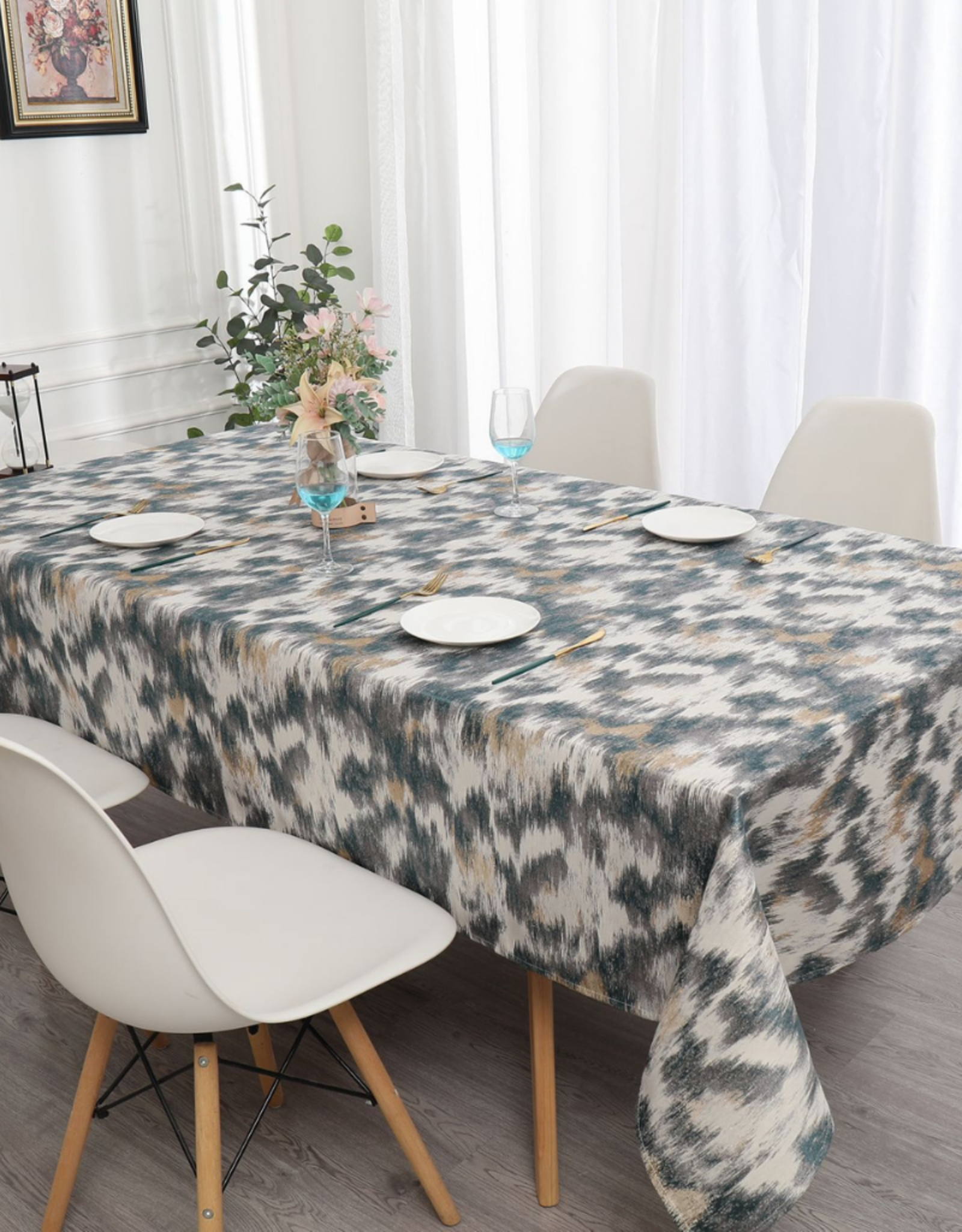 Jacquard Tablecloth Beige/Gold/Teal #1217