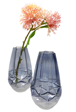 Smoke Faceted Frosted Vase