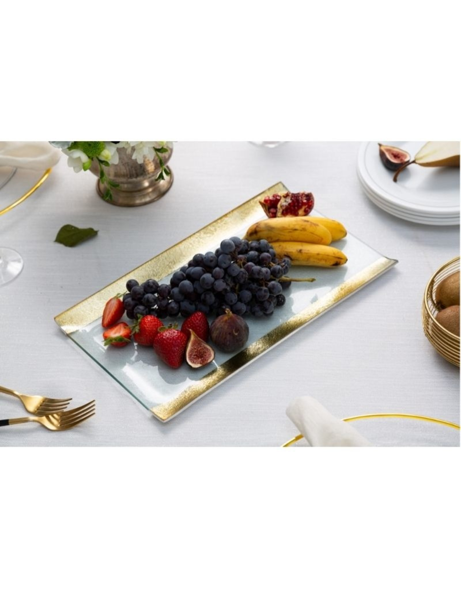 Glass Tray w/ Gold Borders