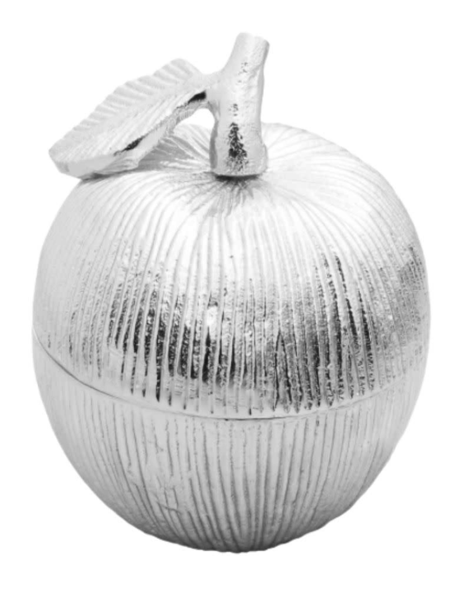 Silver Apple Shaped Honey Jar w Spoon