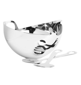 Stainless Steel Salad Bowl w/ Servers