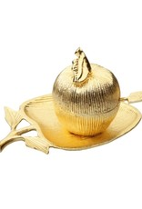 Gold Apple Shaped Dish w/Honey Jar