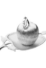 Silver Apple Shaped Honey Dish w/Honey Jar