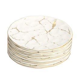 Set of 6 Dessert Plates w Gold Design