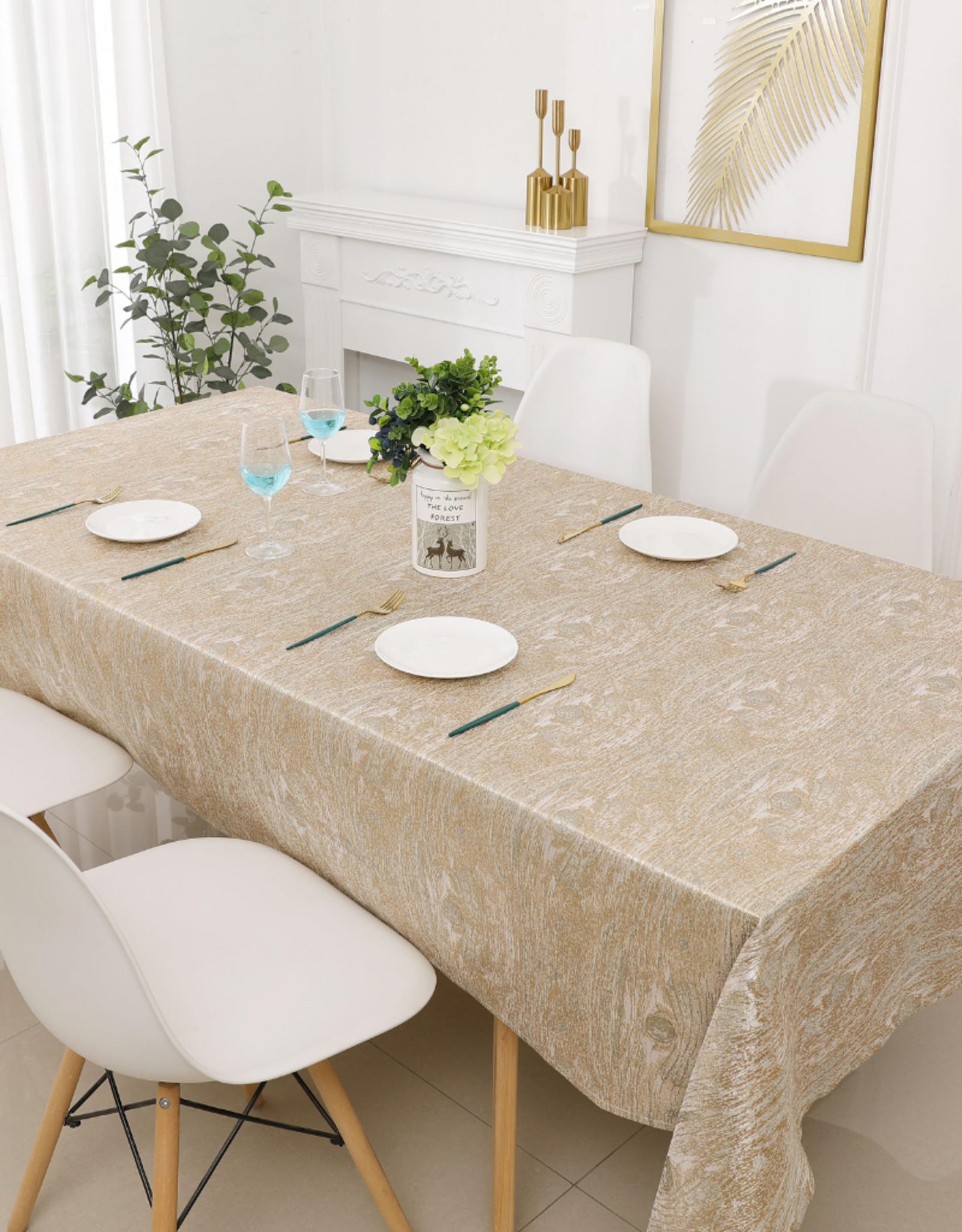 Jacquard Tablecloth Gold/Bronze Woodgrain #1234