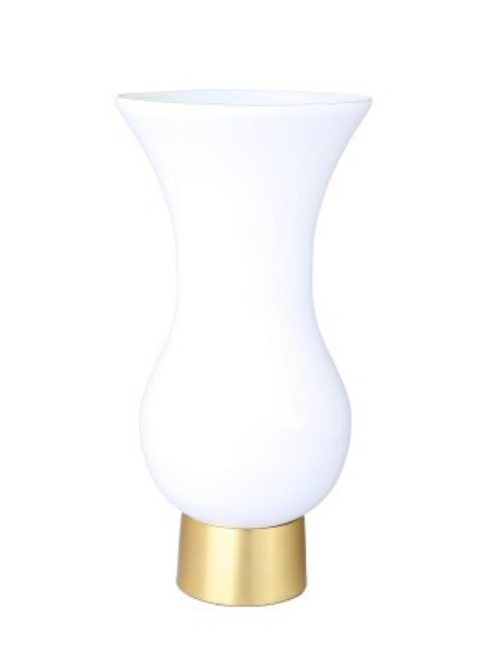 Medium White Glass & Gold Base Vase