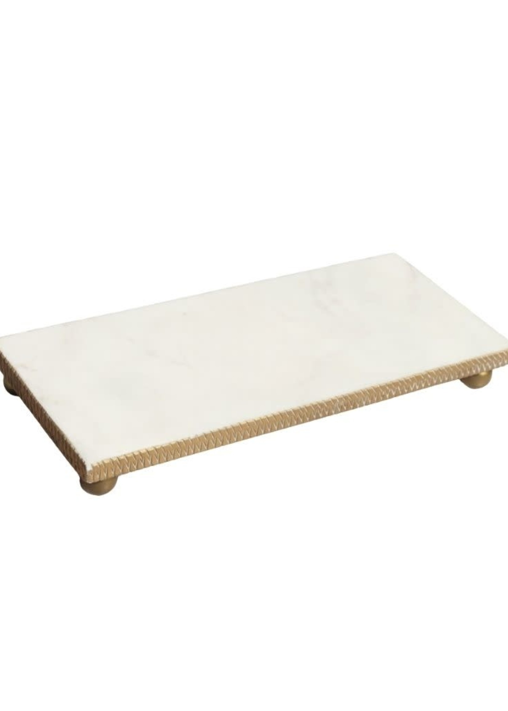 White Marble Oblong Tray w Gold Beaded Edge - Small