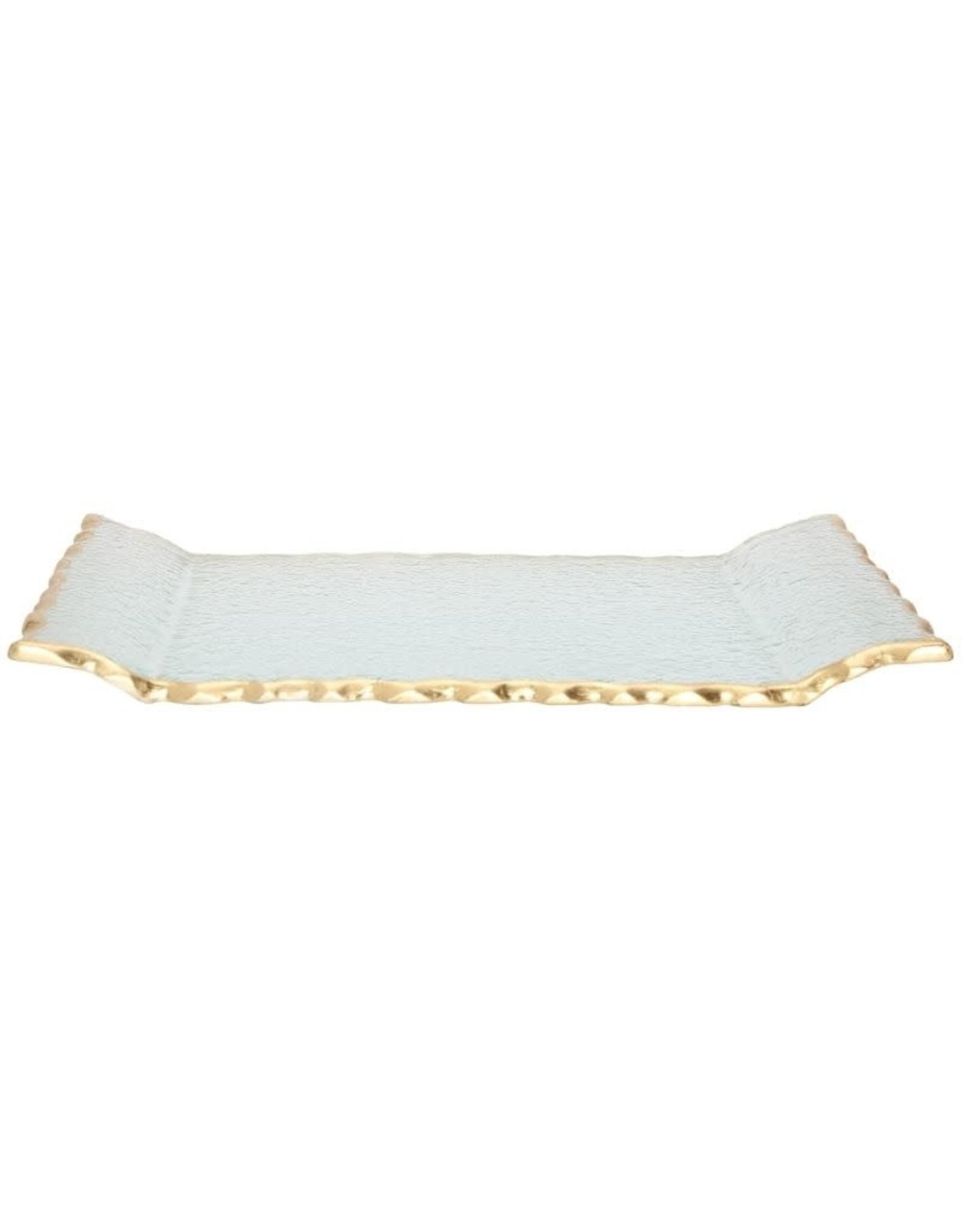 Glass Oblong Tray with Gold Edge