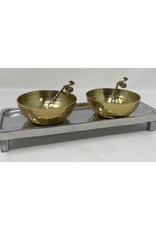 Aluminum Tray With  2 Bowls & Spoon