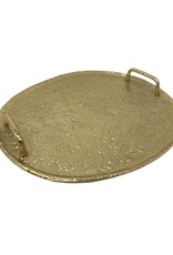 Gold Hammered Round Tray with Handles