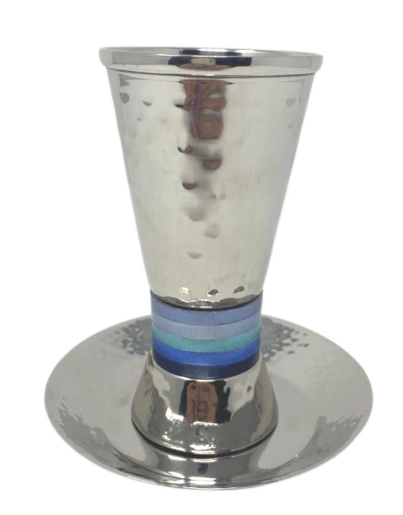 Emanuel Hammered Kiddush Cup- Blue Rings