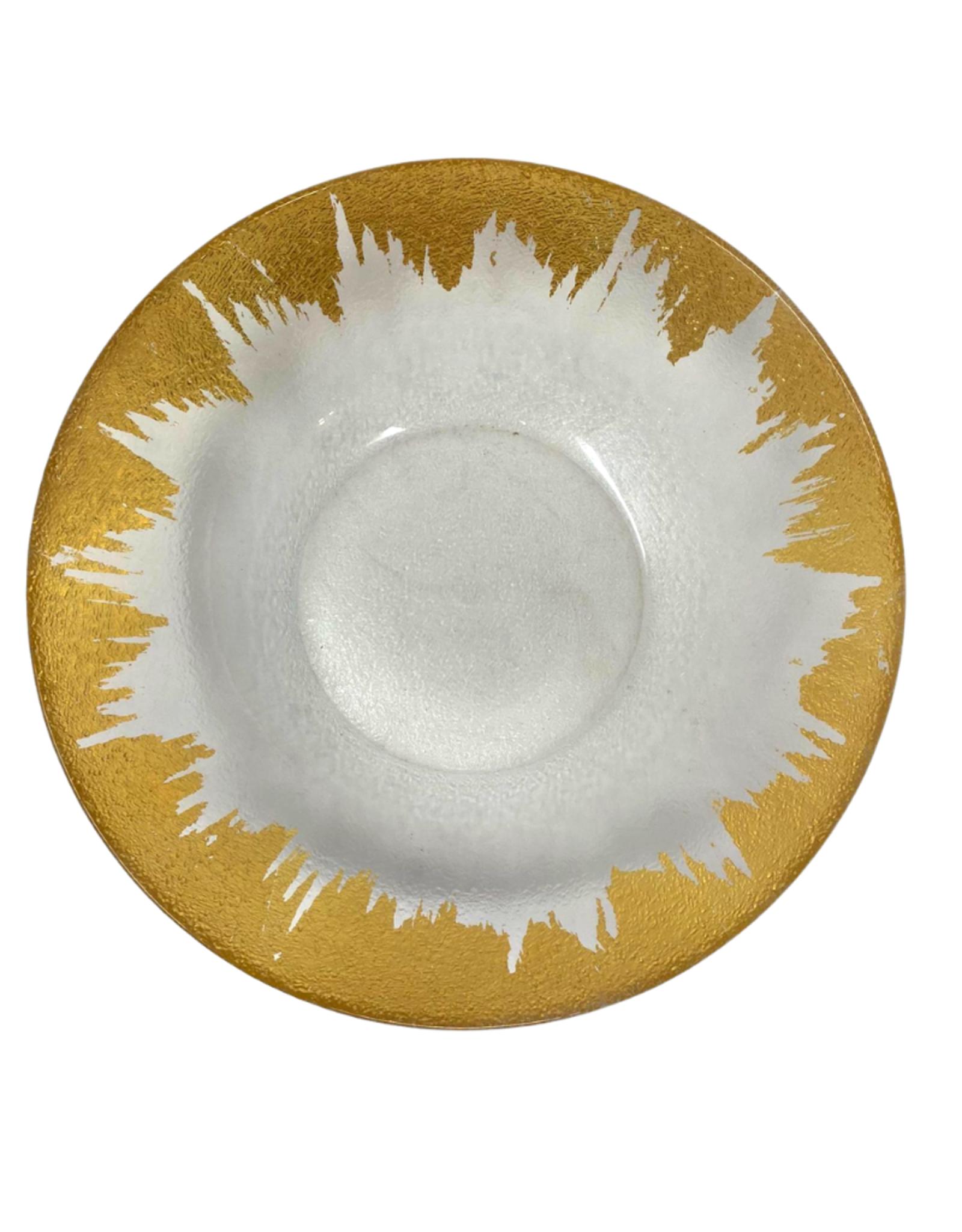 Naples Glass Serving Bowl // Gold Drip