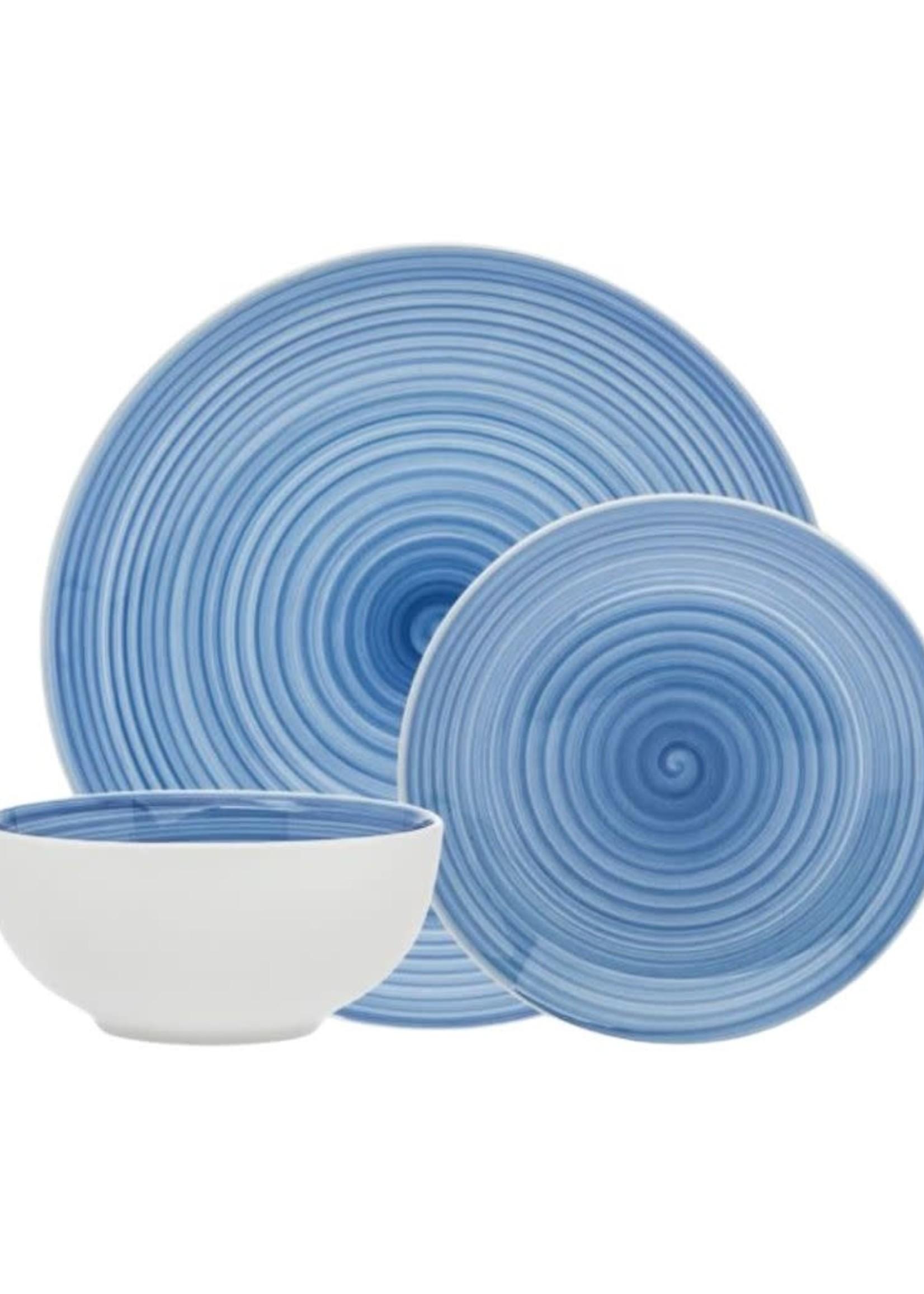 Spiral Blue 12 Piece Dinnerware Set