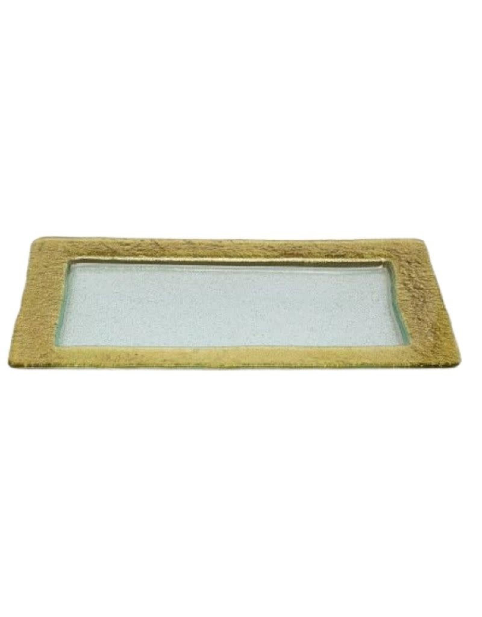 Glass Rectangular Tray Gold Design