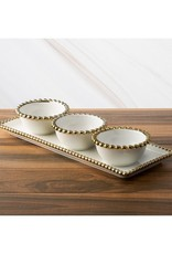 Porcelain White Relish Dish w/ 3 Round Gold Beaded Bowls