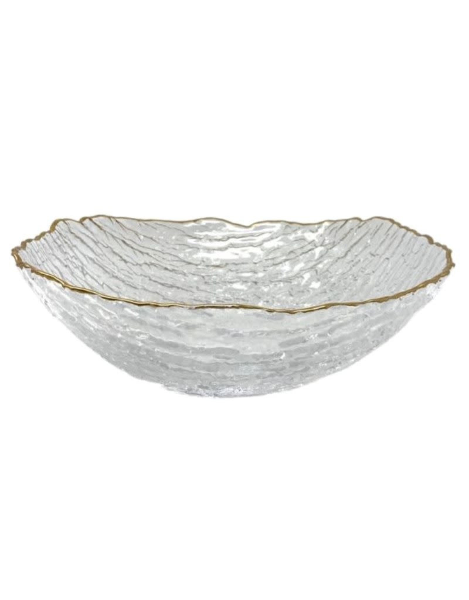 Crushed Glass Salad Bowl With Gold Rim