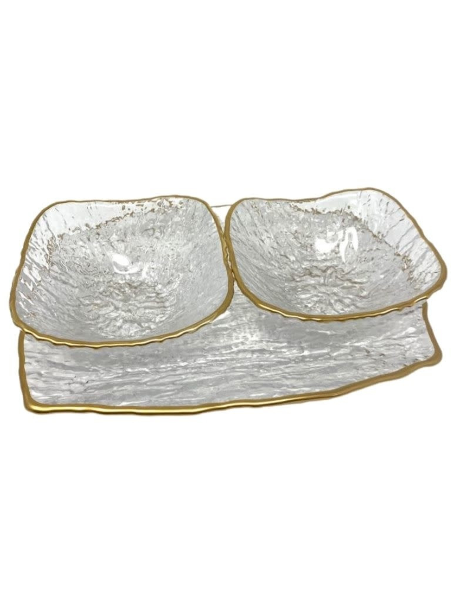 Crushed Glass 2 Bowl Relish Dish With Gold Rim