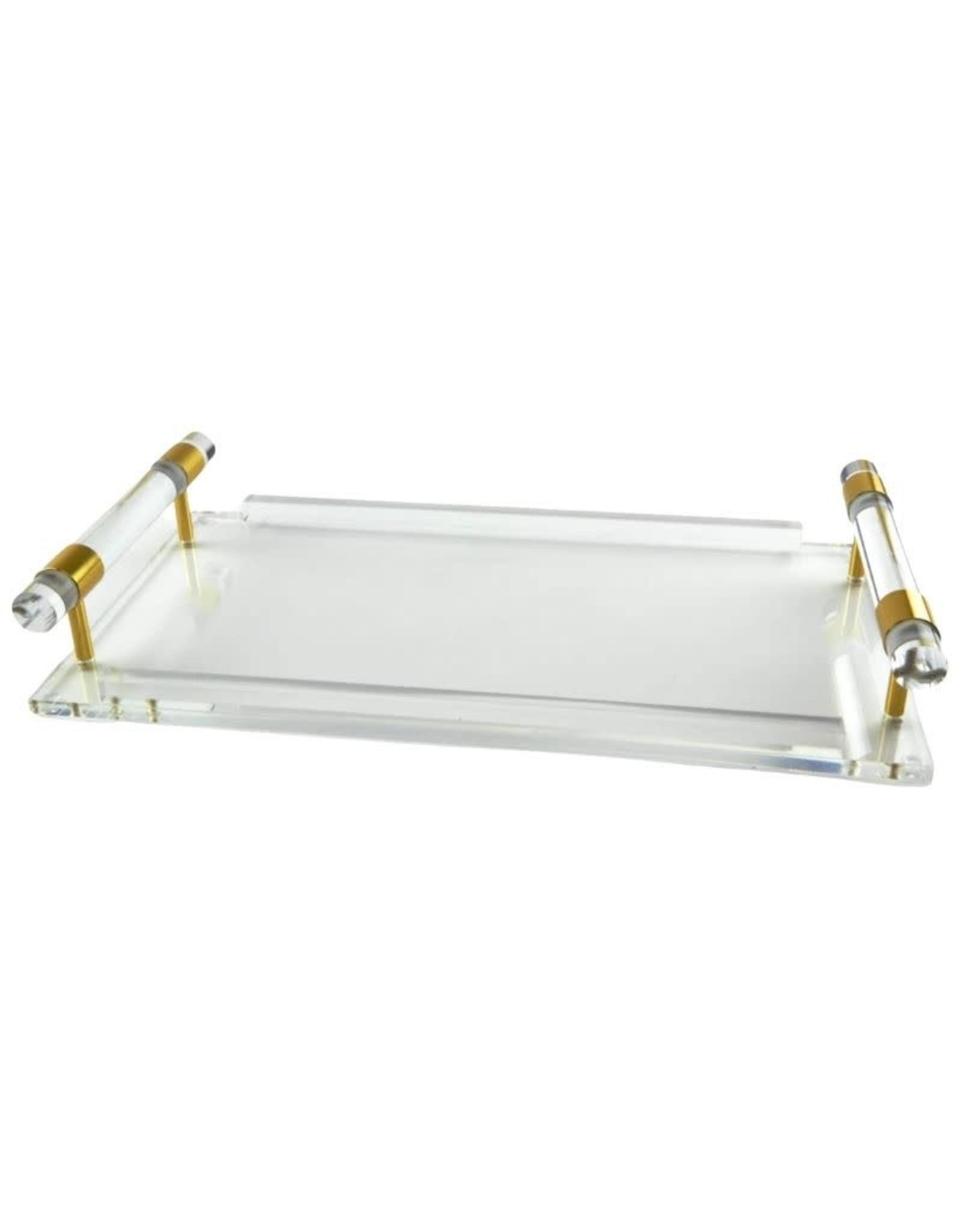Acrylic Tray With Accent Handle - Gold