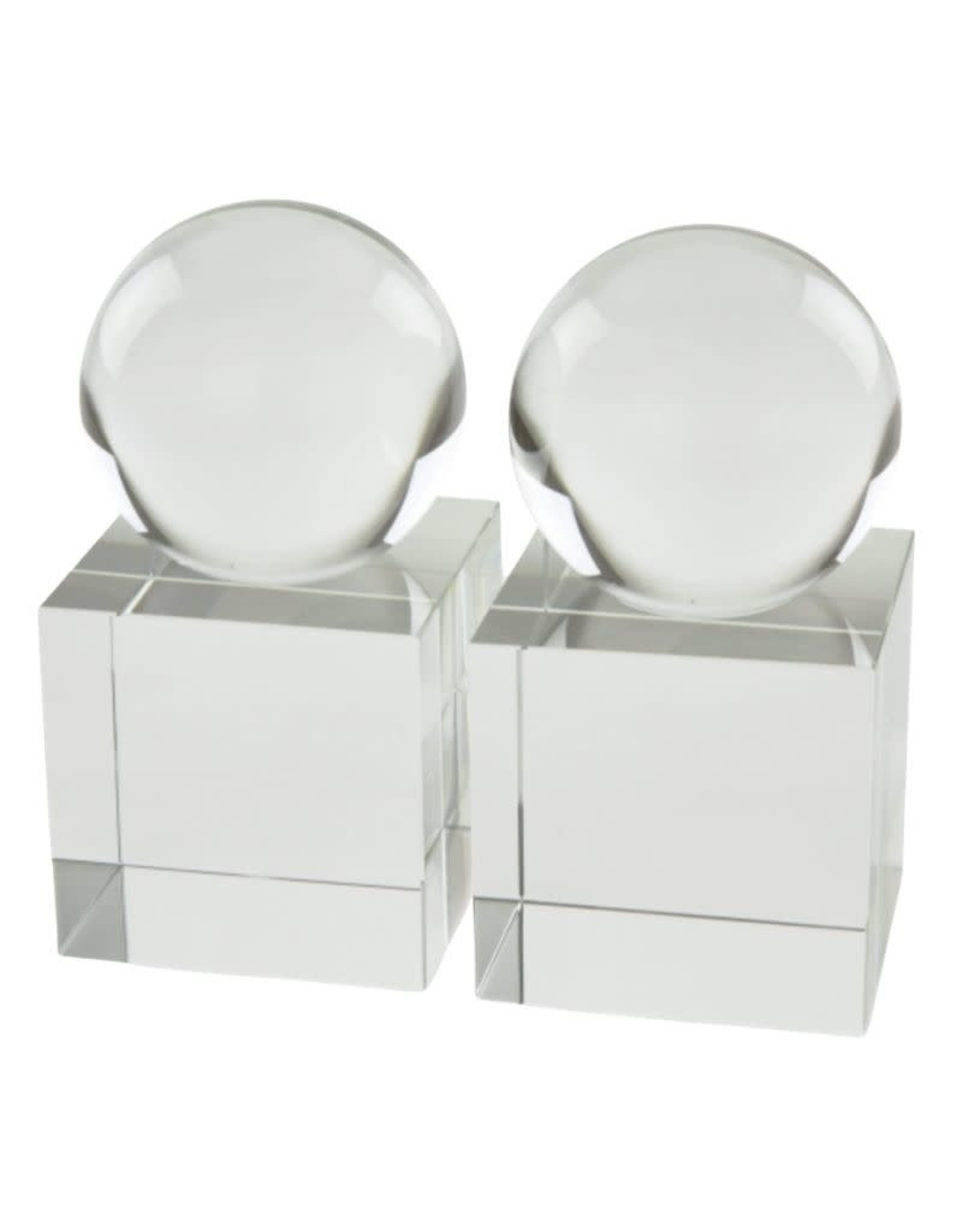 Crystal Sphere Bookend Pair