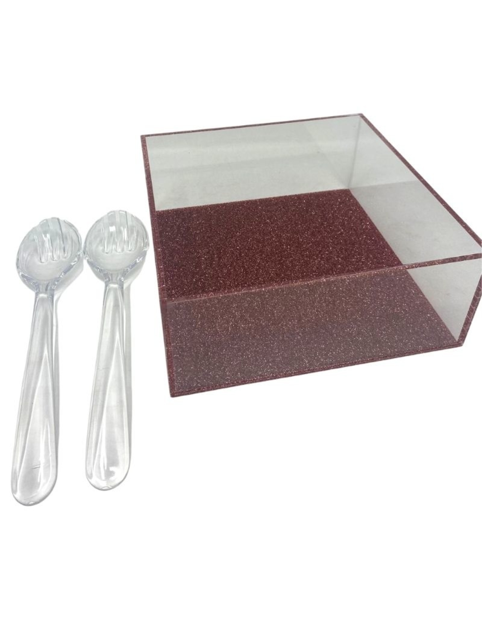 Salad Bowl With Utensils- Pink Glitter