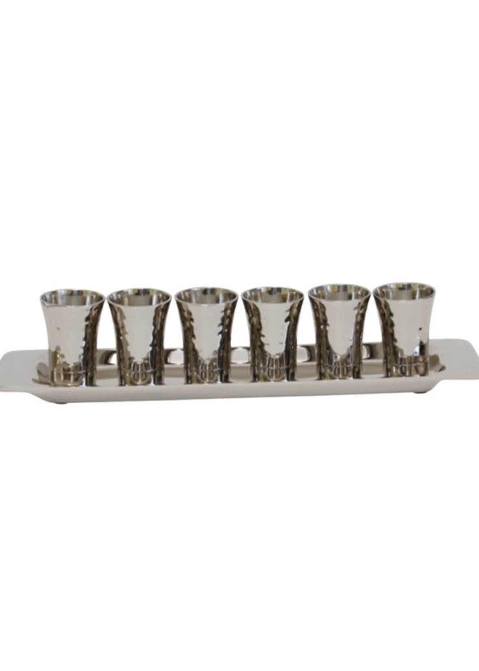 Emanuel Set of 6 Small Cups + Tray- Nickel