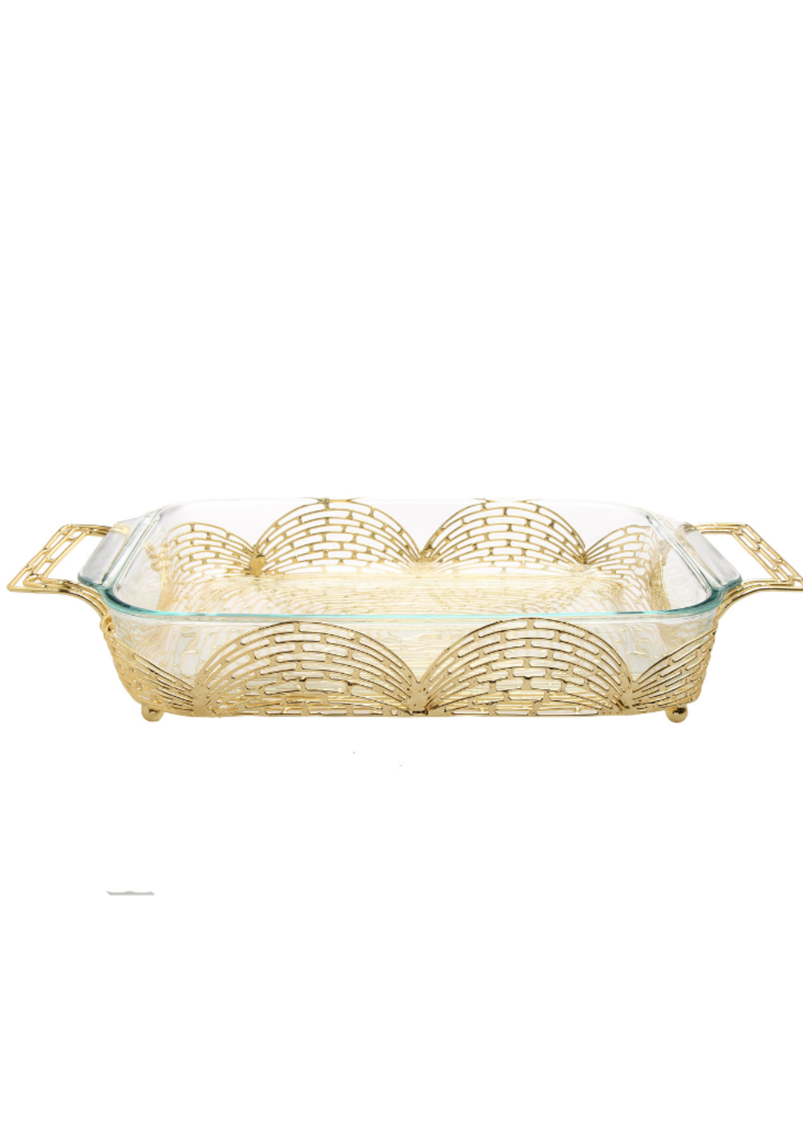 Art Deco Gold Pyrex Tray with Handles