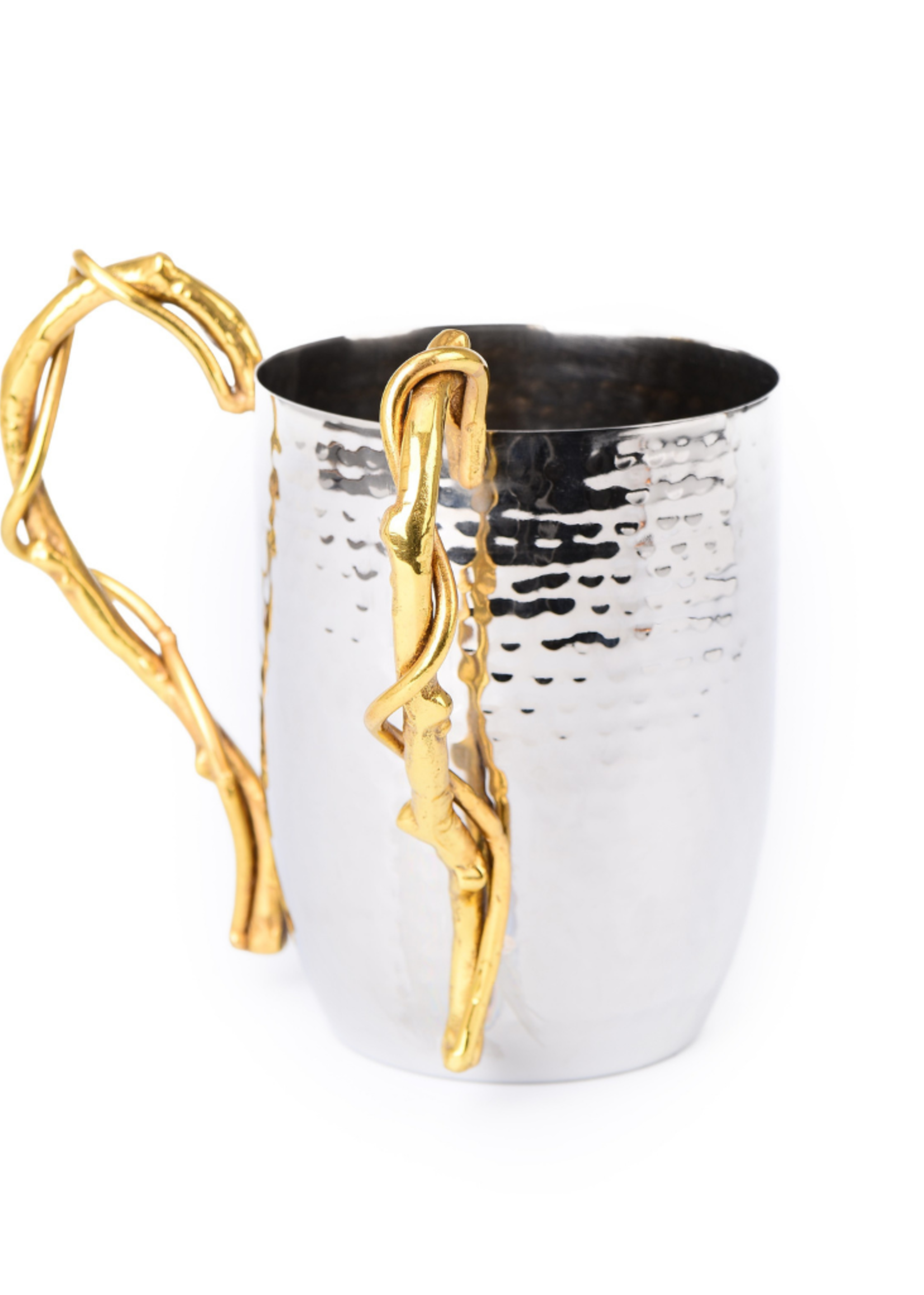 Hammered Stainless Gold Branch Washing Cup