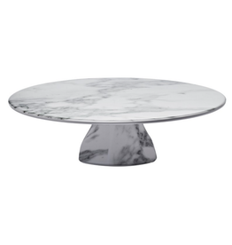 Melamine Cake Stand & Cover // White Marble