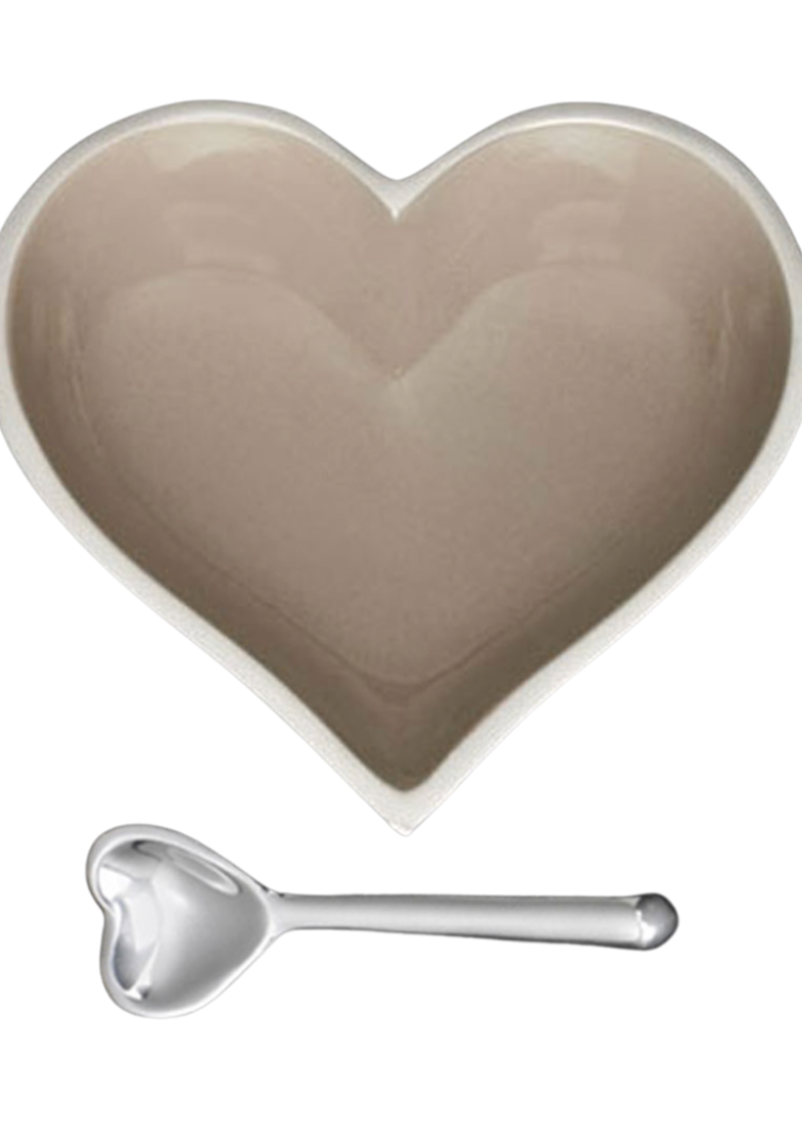 Happy Heart Bowl w Spoon // Taupe