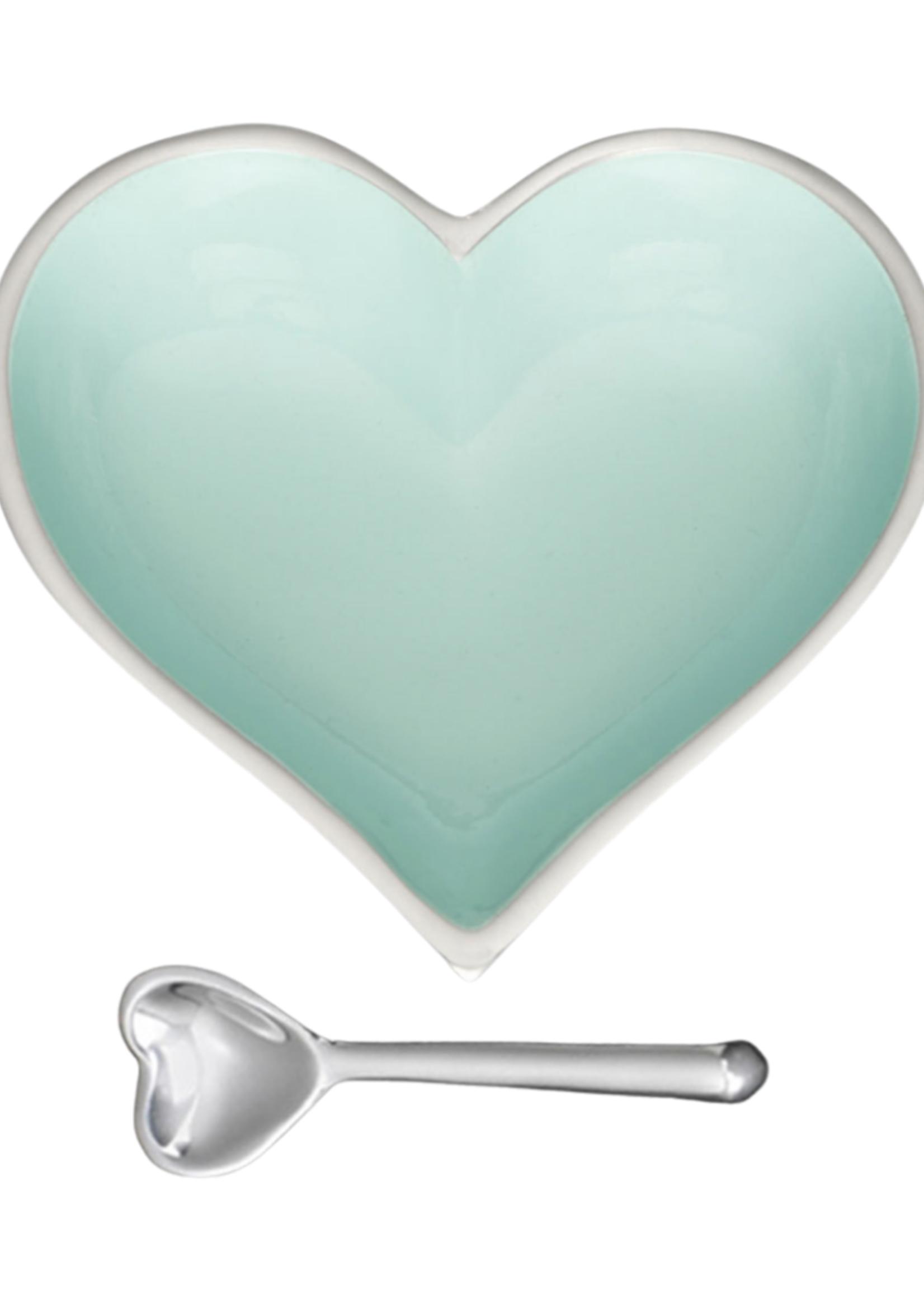 Happy Heart Bowl w Spoon // Robin Egg Blue