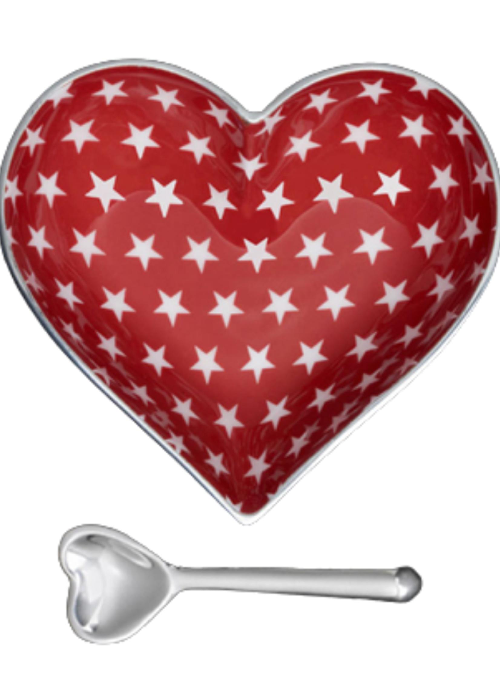 Happy Heart Bowl w Spoon // Red w White Stars