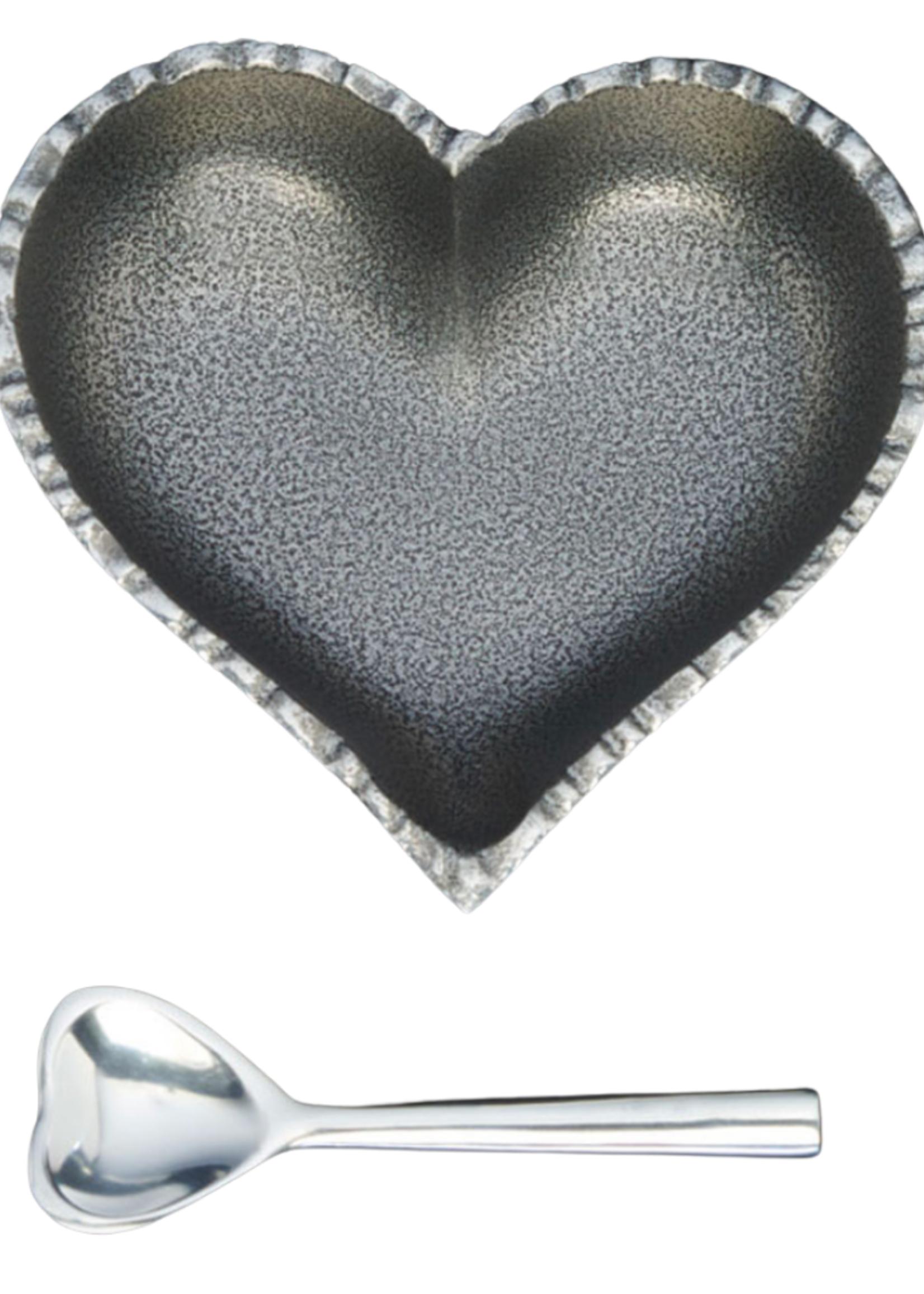 Happy Heart Bowl w Spoon // Jazzy Silver