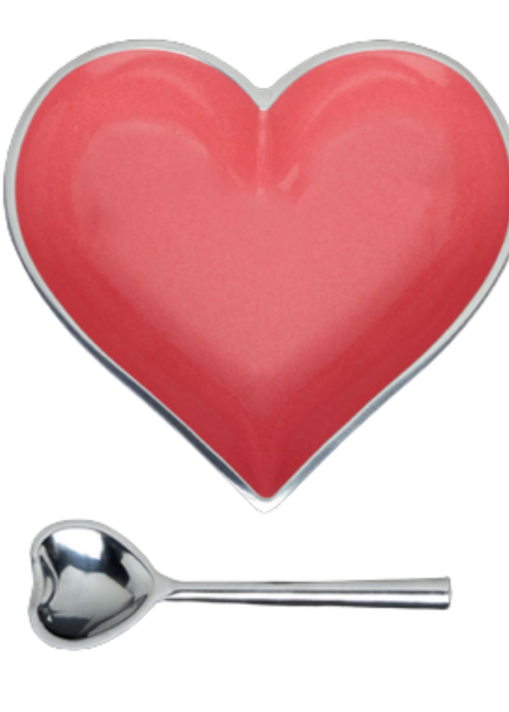 Happy Heart Bowl w Spoon // Coral